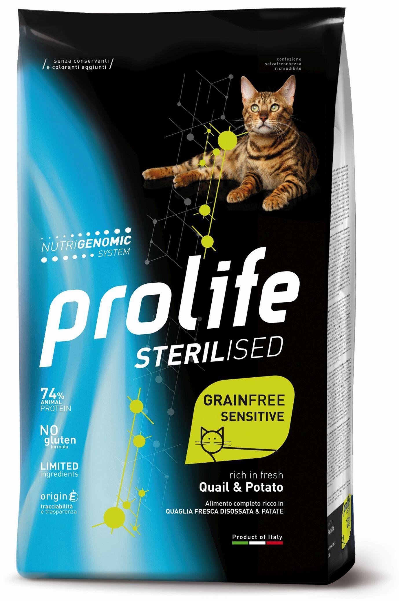 Cat Prolife Sterilised Grain Free Adult Quail & Potato 1,5 kg e 7 kg
