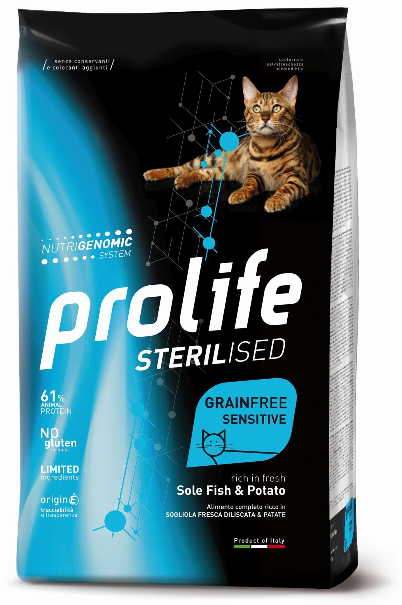 CAT PROLIFE STERILISED GRAIN FREE SENSITIVE SOLE FISH&POTATO 1,5 KG