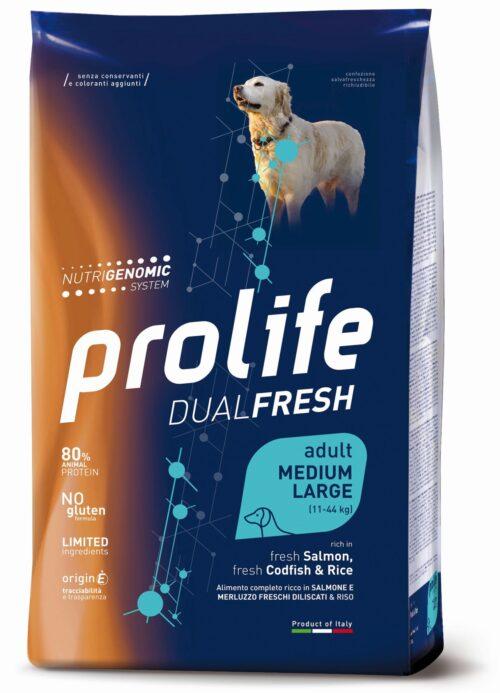 Dog Prolife Dual Fresh Adult Medium/Large Salmon, Codfish & Rice 2,5 kg e 12 kg