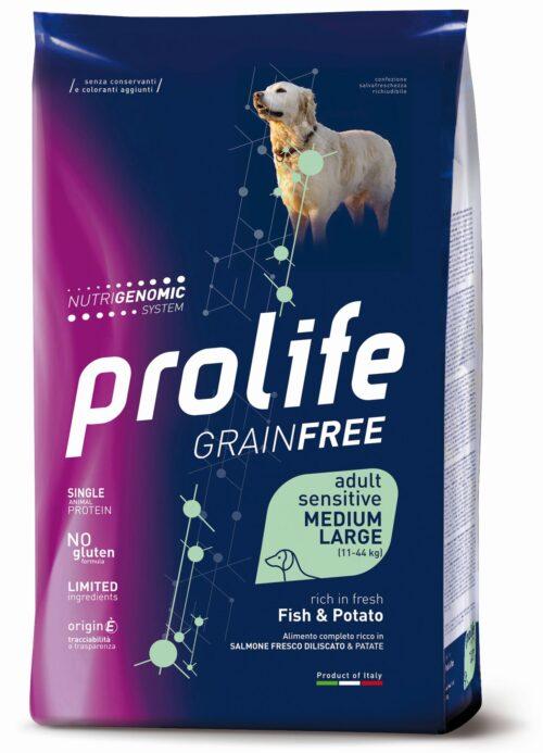DOG PROLIFE GRAINFREE ADULT SENSITIVE FISH&POTATO MEDIUM:LARGE 2,5 KG