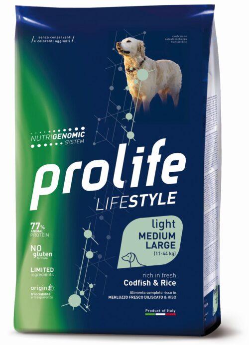 Dog Prolife Lifestyle Light Adult Medium/Large Codfish & Rice 2,5 kg e 12 kg