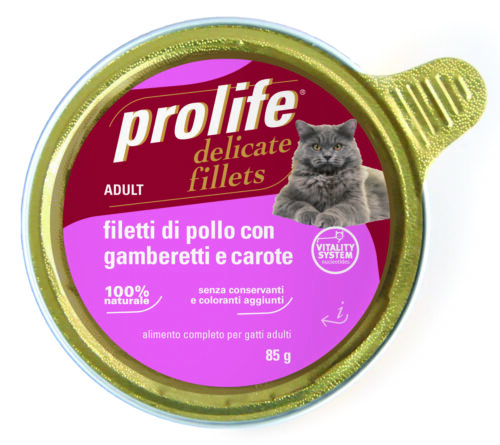 Cat Prolife Adult - Filetti di Pollo con Gamberetti e Carote 85 gr