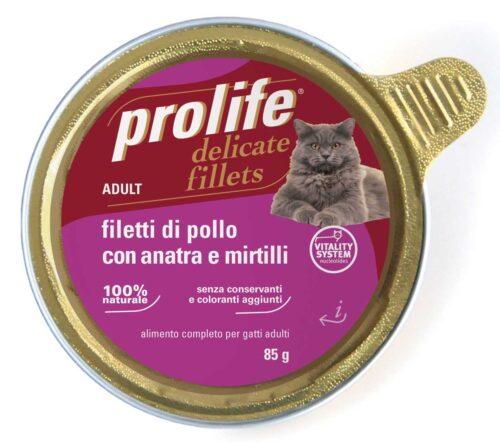 Cat Prolife Adult - Filetti di Pollo con Anatra e Mirtilli 85 gr