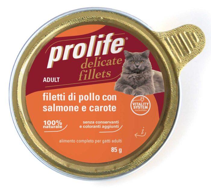 Cat Prolife Adult - Filetti di Pollo con Salmone e Carote 85 gr