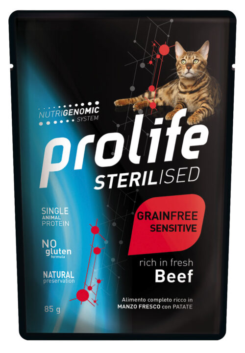 CAT PROLIFE WET STERILISED GRAINFREE SENSITIVE BEEF - busta 85 GR