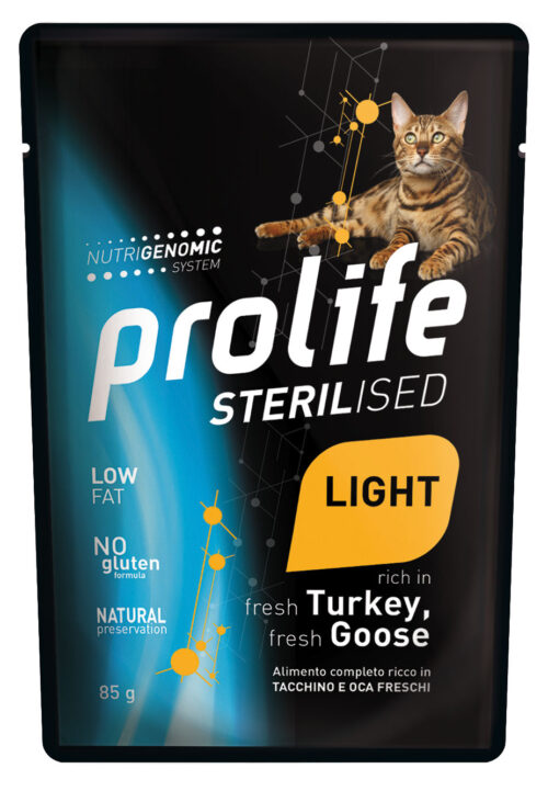 CAT PROLIFE WET STERILISED LIGHT TURKEY & GOOSE - busta 85 GR