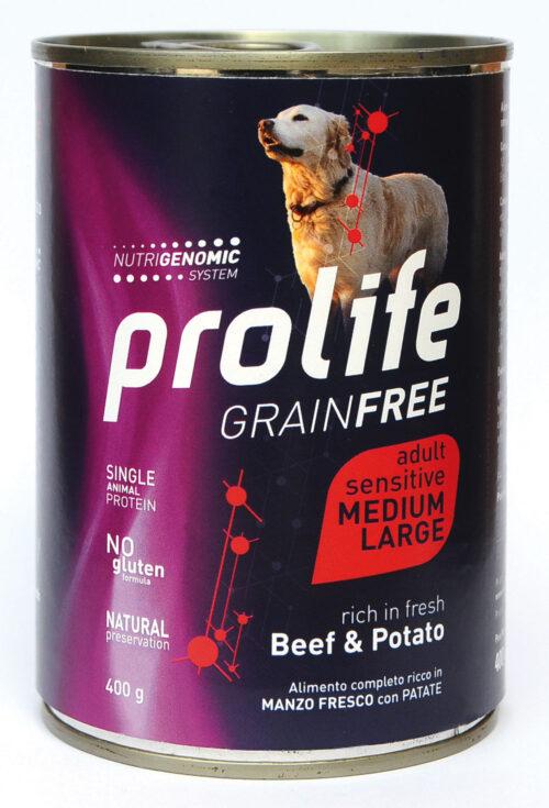 DOG PROLIFE WET GRAINFREE MEDIUM/LARGE BEEF & POTATO - 400 gr