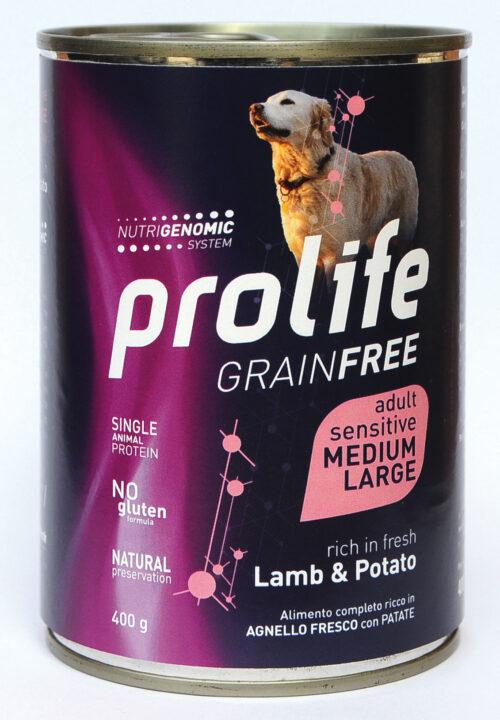 DOG PROLIFE WET GRAINFREE MEDIUM/LARGE LAMB & POTATO - 400 gr