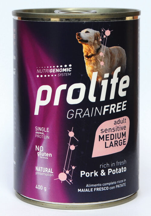 DOG PROLIFE WET GRAINFREE MEDIUM/LARGE PORK & POTATO - 400 gr