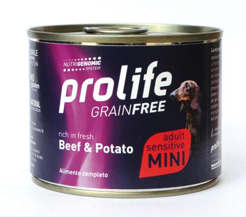 DOG PROLIFE WET GRAINFREE MINI BEEF & POTATO- 200 gr