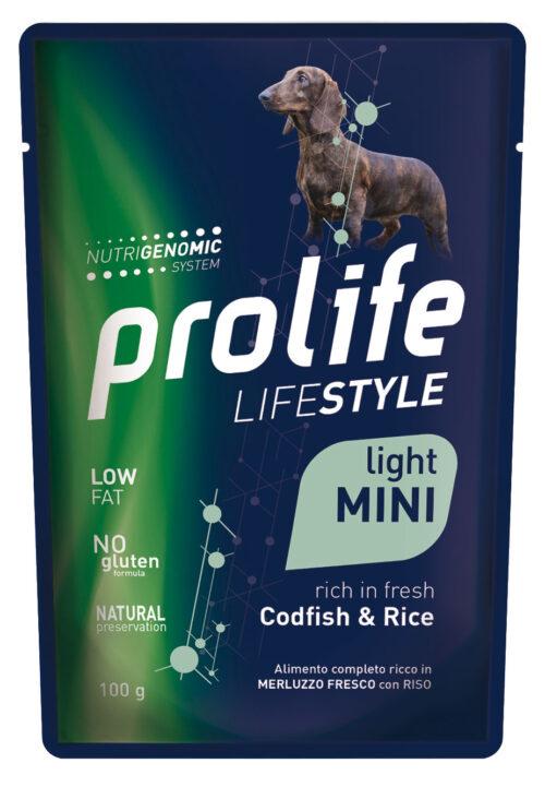 DOG PROLIFE WET LIFESTYLE LIGHT CODFISH & RICE - busta 100 gr